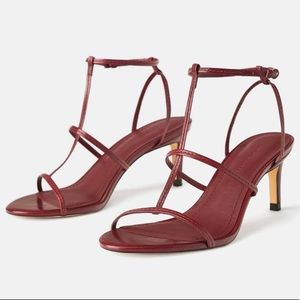 NEW Zara Red Leather Strappy Heels, Size 6.5 7.5 8